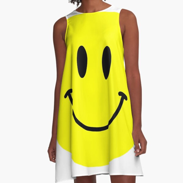 Acid Smiley Face :) Yellow happy face emoji A-Line Dress