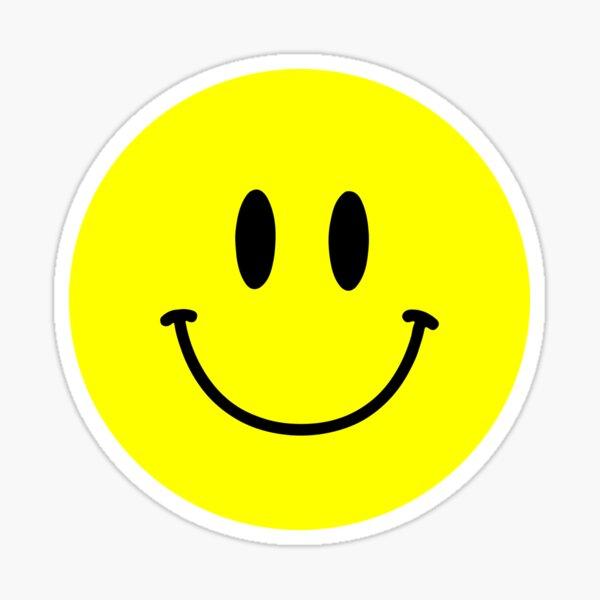 Cara sonriente ácida :) Emoji de cara feliz amarilla Pegatina