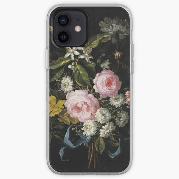 Jean-Baptiste Monnoyer - A Bouquet Of Chamomile, French Roses, Single Yellow Roses, Orange Blossom And Carnations Tied With A Blue Ribbon iPhone Soft Case
