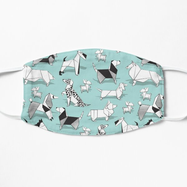 Origami doggie friends // aqua background paper Chihuahuas Dachshunds Corgis Beagles German Shepherds Collies Poodles Terriers Dalmatians Mask