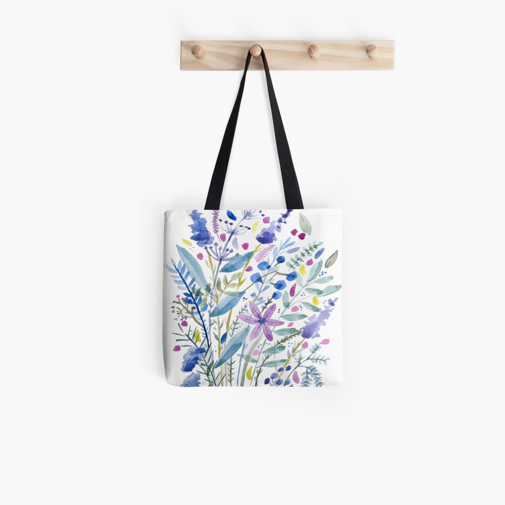 Flowers in Blue and Purple Tote Bag