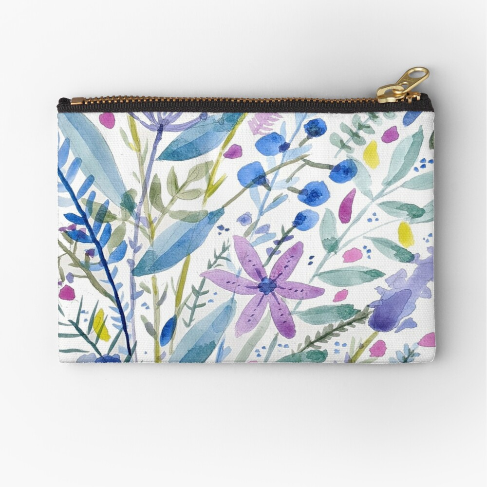 Flowers in Blue and Purple Zipper Pouch