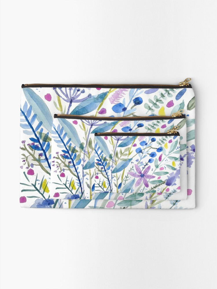 Alternate view of Flowers in Blue and Purple Zipper Pouch