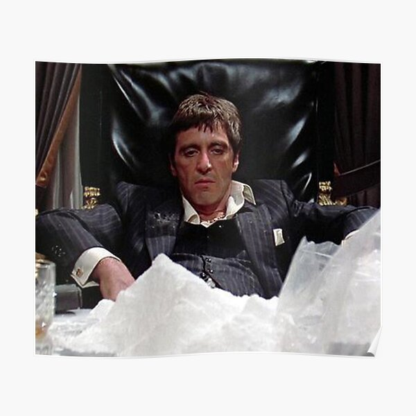 tony montana scarface película al pacino coca cola blanco droga aburrido aburrido sentarse Póster