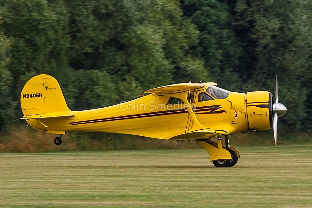 Yellow Staggerwing take-off by Colin Smedley