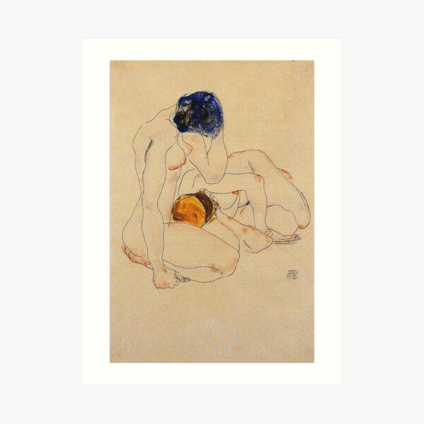 Egon Schiele - Two Friends 1912 Art Print