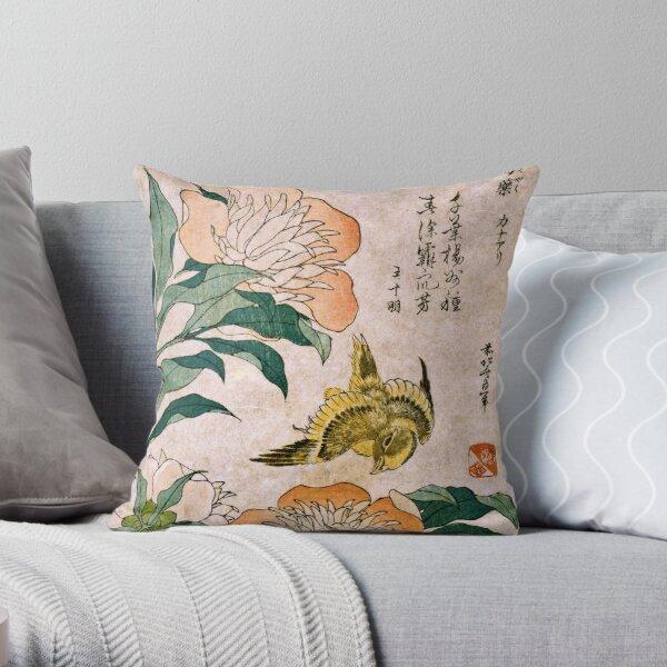 Hokusai Katsushika - Peony And Canary  Throw Pillow