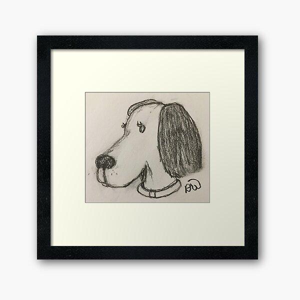 Beagle Dog in Charcoal Framed Art Print