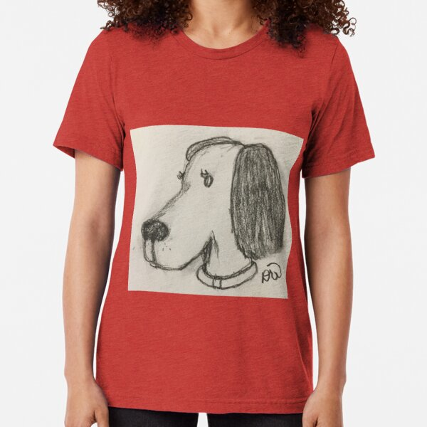 Beagle Dog in Charcoal Tri-blend T-Shirt