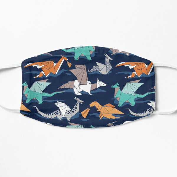 Origami dragon friends // oxford navy blue background Mask