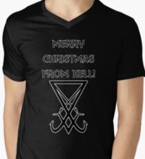 Merry Christmas from Hell Seal of Satan Mens V-Neck T-Shirt
