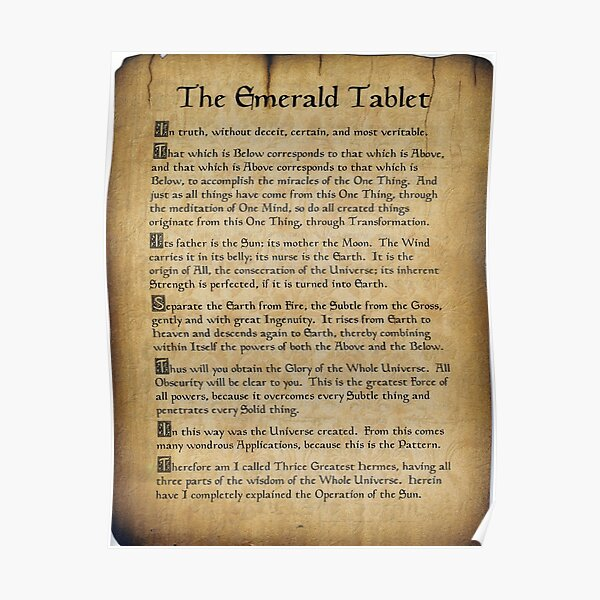 Emerald Tablet Scroll Poster