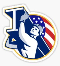 Construction Steel Worker I-Beam American Flag Sticker