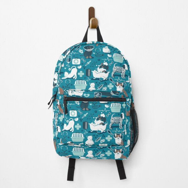 Veterinary medicine, happy and healthy friends // turquoise background aqua details navy blue white and brown cats dogs and other animals Backpack