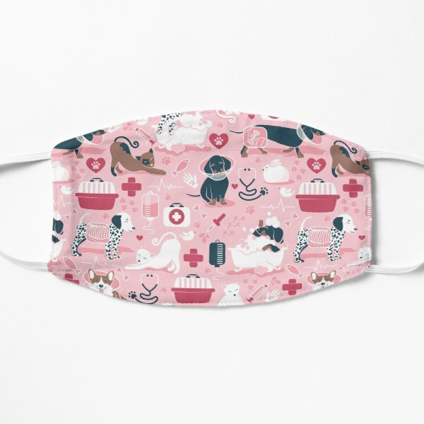 Veterinary medicine, happy and healthy friends // pink background red details navy blue white and brown cats dogs and other animals Mask