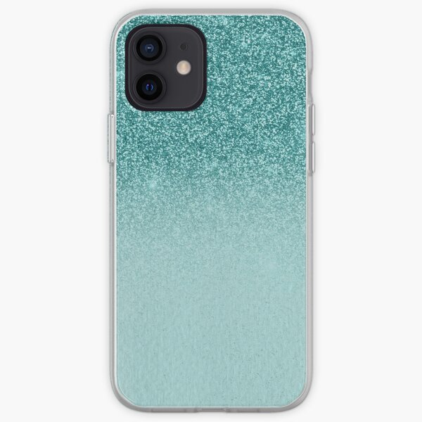 Teal Ombre Glitter Sparkle  iPhone Soft Case