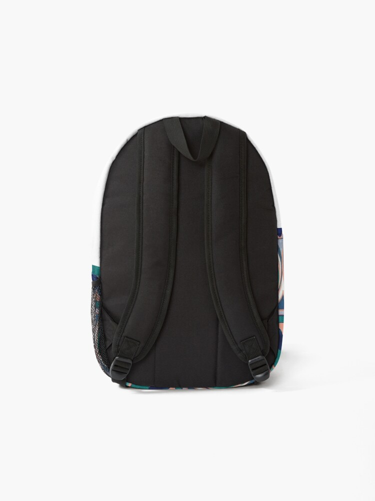 Alternate view of Peacock Feathers Eye // teal blue and metal coral rose Backpack