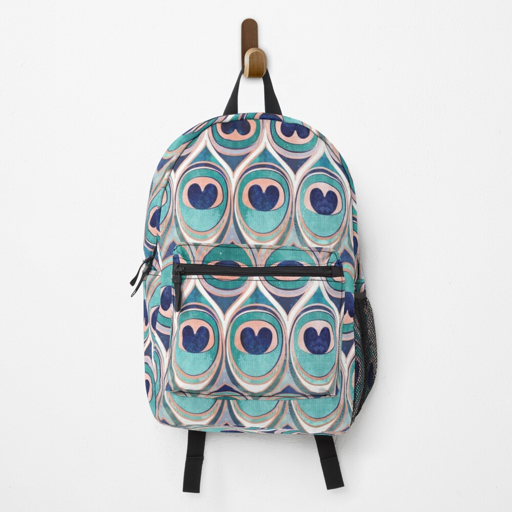 Peacock Feathers Eye // teal blue and metal coral rose Backpack
