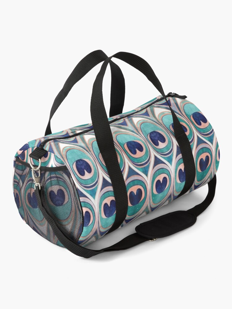 Alternate view of Peacock Feathers Eye // teal blue and metal coral rose Duffle Bag