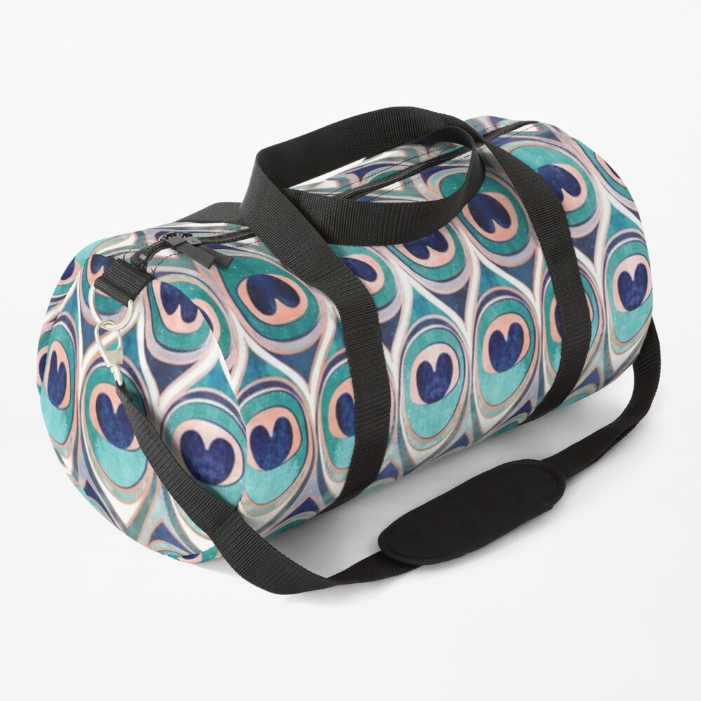 Peacock Feathers Eye // teal blue and metal coral rose Duffle Bag