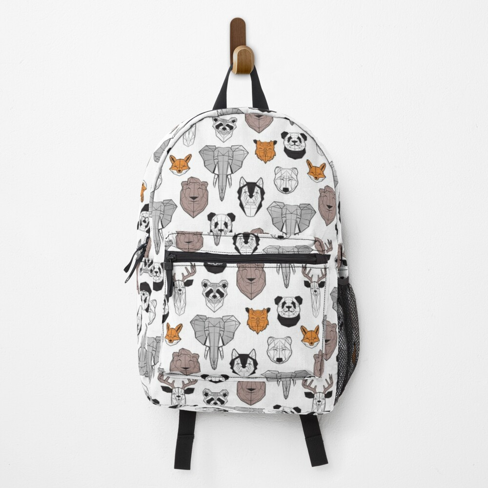 Friendly geometric animals // white background black and white orange grey and taupe brown animals Backpack