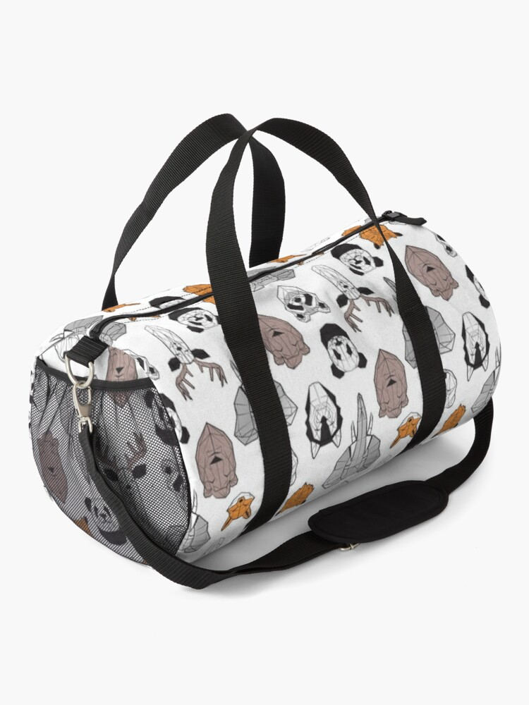 Alternate view of Friendly geometric animals // white background black and white orange grey and taupe brown animals Duffle Bag