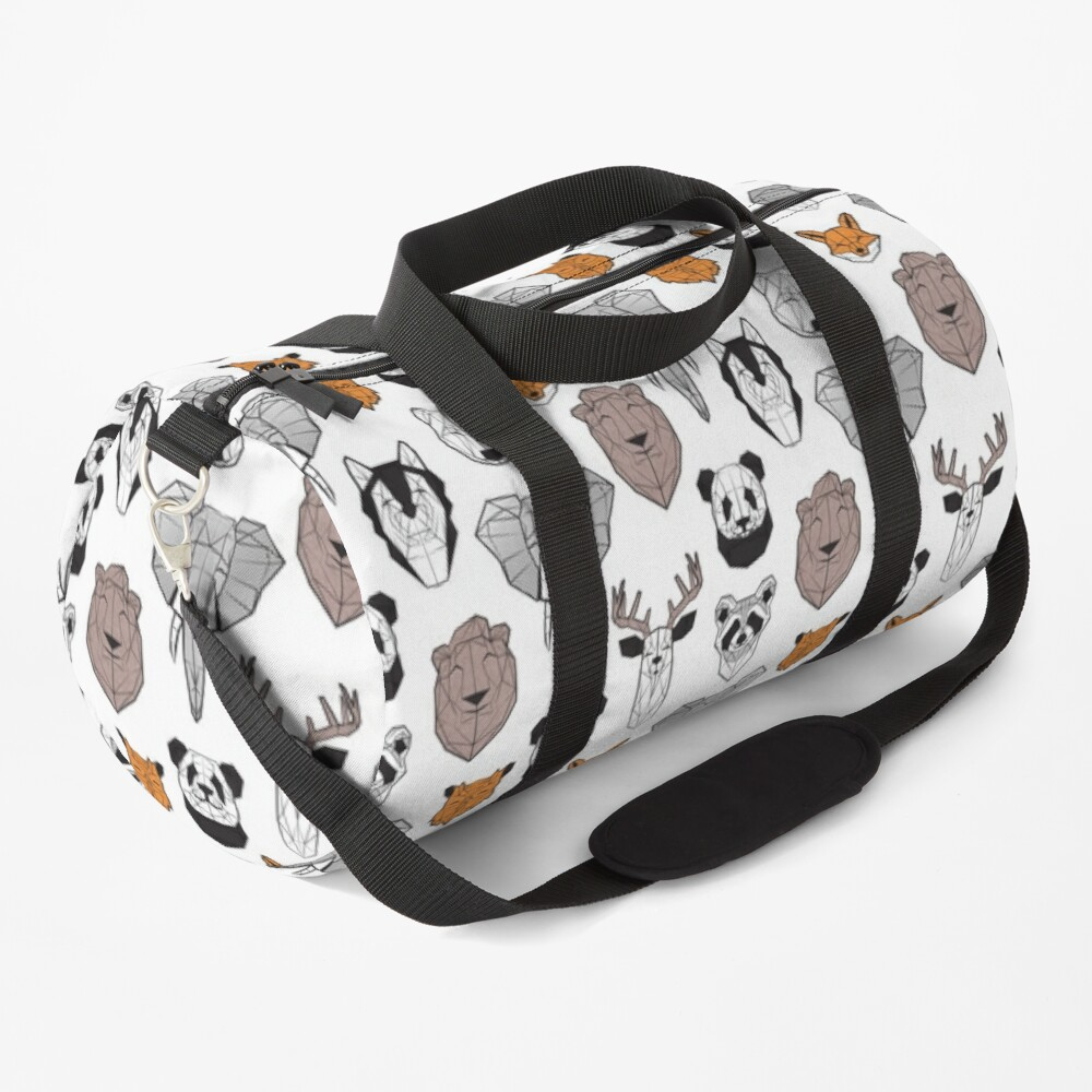Friendly geometric animals // white background black and white orange grey and taupe brown animals Duffle Bag