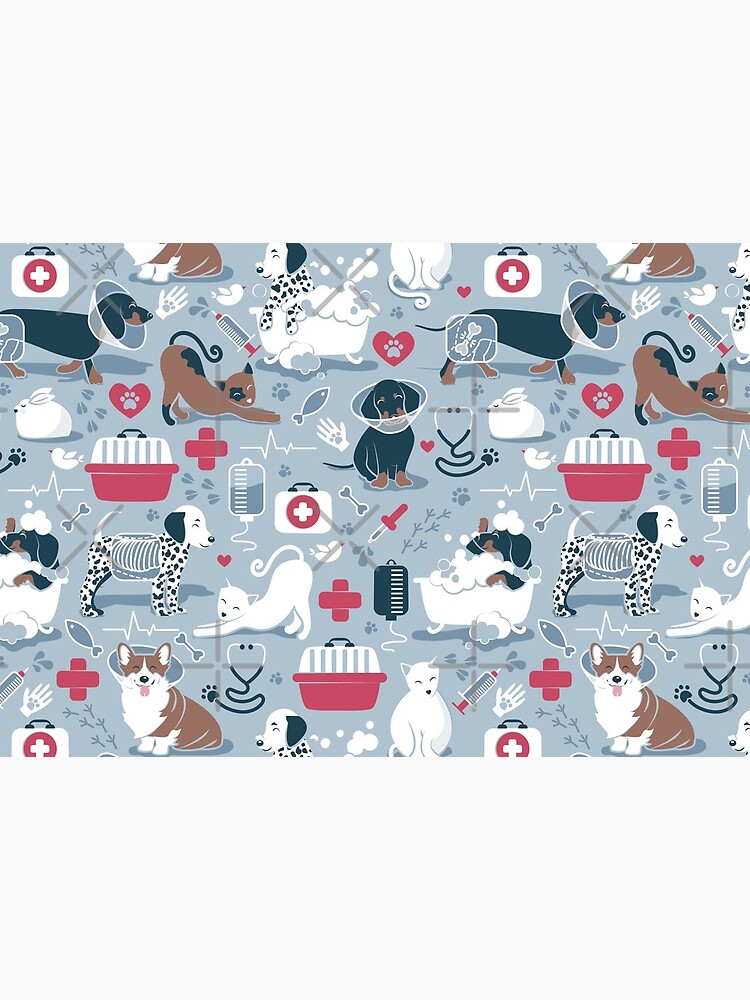 Veterinary medicine, happy and healthy friends // pastel blue background red details navy blue white and brown cats dogs and other animals by SelmaCardoso