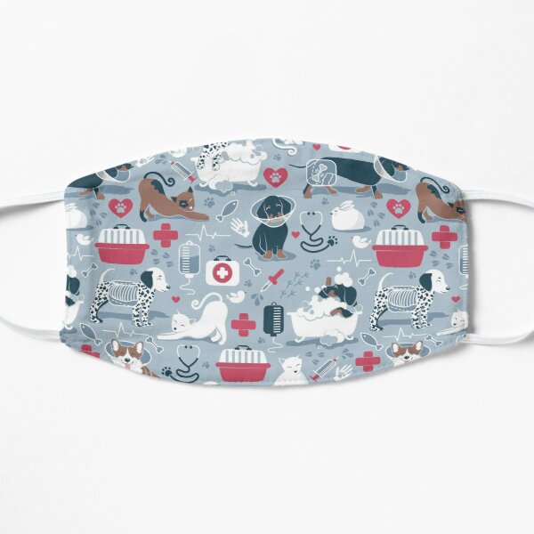 Veterinary medicine, happy and healthy friends // pastel blue background red details navy blue white and brown cats dogs and other animals Mask