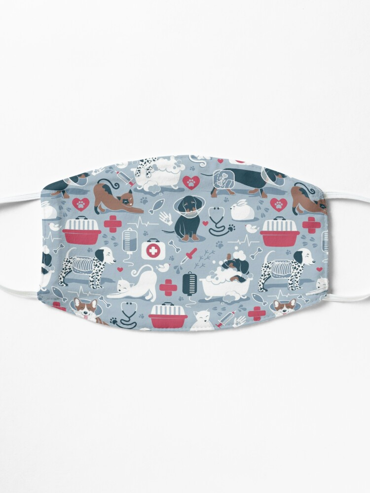 Alternate view of Veterinary medicine, happy and healthy friends // pastel blue background red details navy blue white and brown cats dogs and other animals Mask