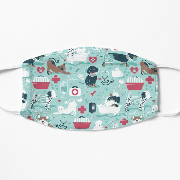 Veterinary medicine, happy and healthy friends // aqua background red details navy blue white and brown cats dogs and other animals Mask