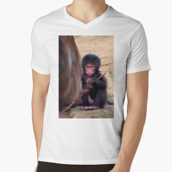 Baby Gelada Baboon V-Neck T-Shirt