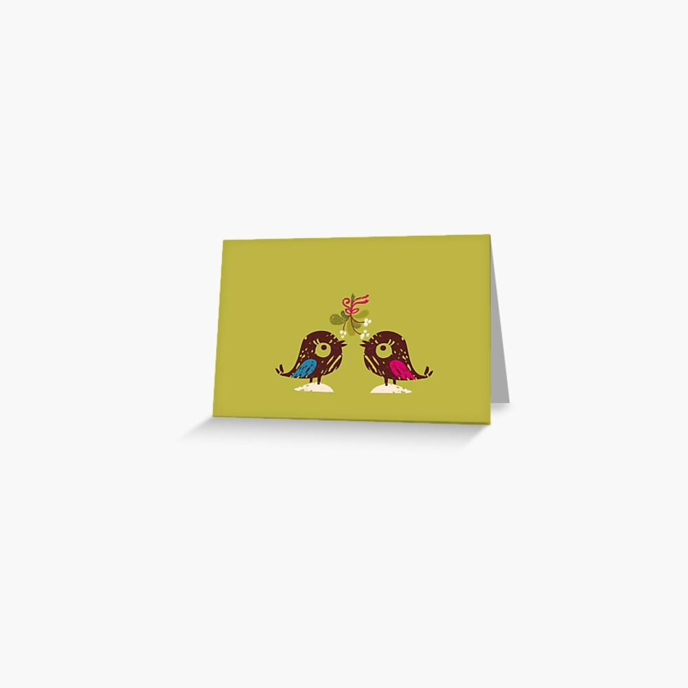 Christmas Love Birds Greeting Card