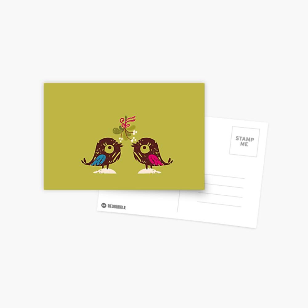 Christmas Love Birds Postcard