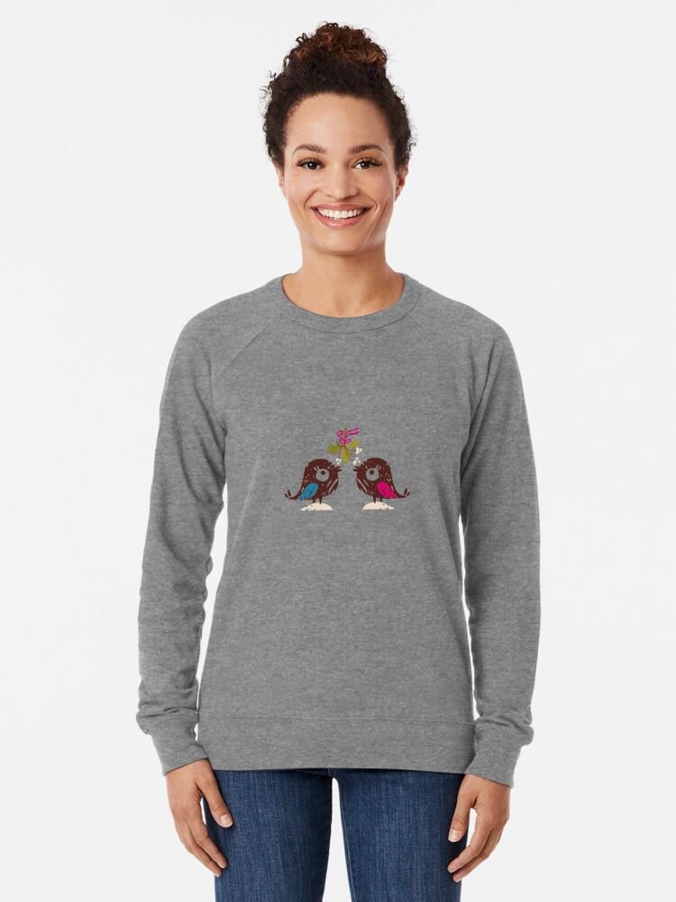 Alternate view of Christmas Love Birds Lightweight Sweatshirt