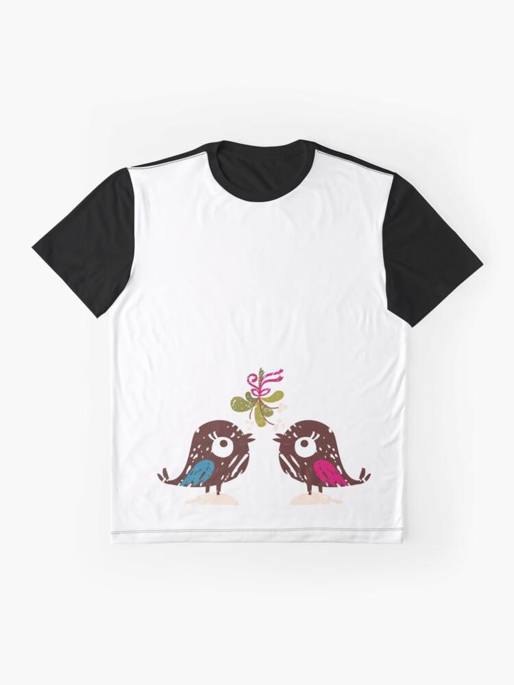 Alternate view of Christmas Love Birds Graphic T-Shirt