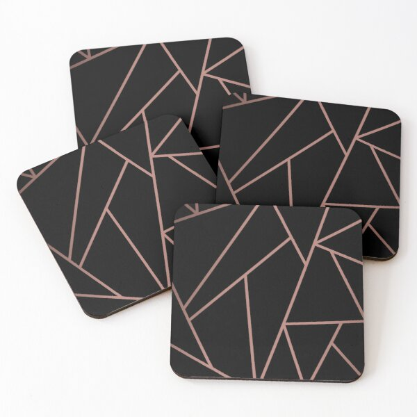 Black and copper geometric background Coasters (Set of 4)