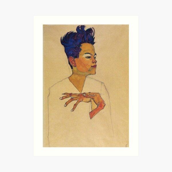 Egon Schiele - Self Portrait With Hands On Chest 1910 Art Print