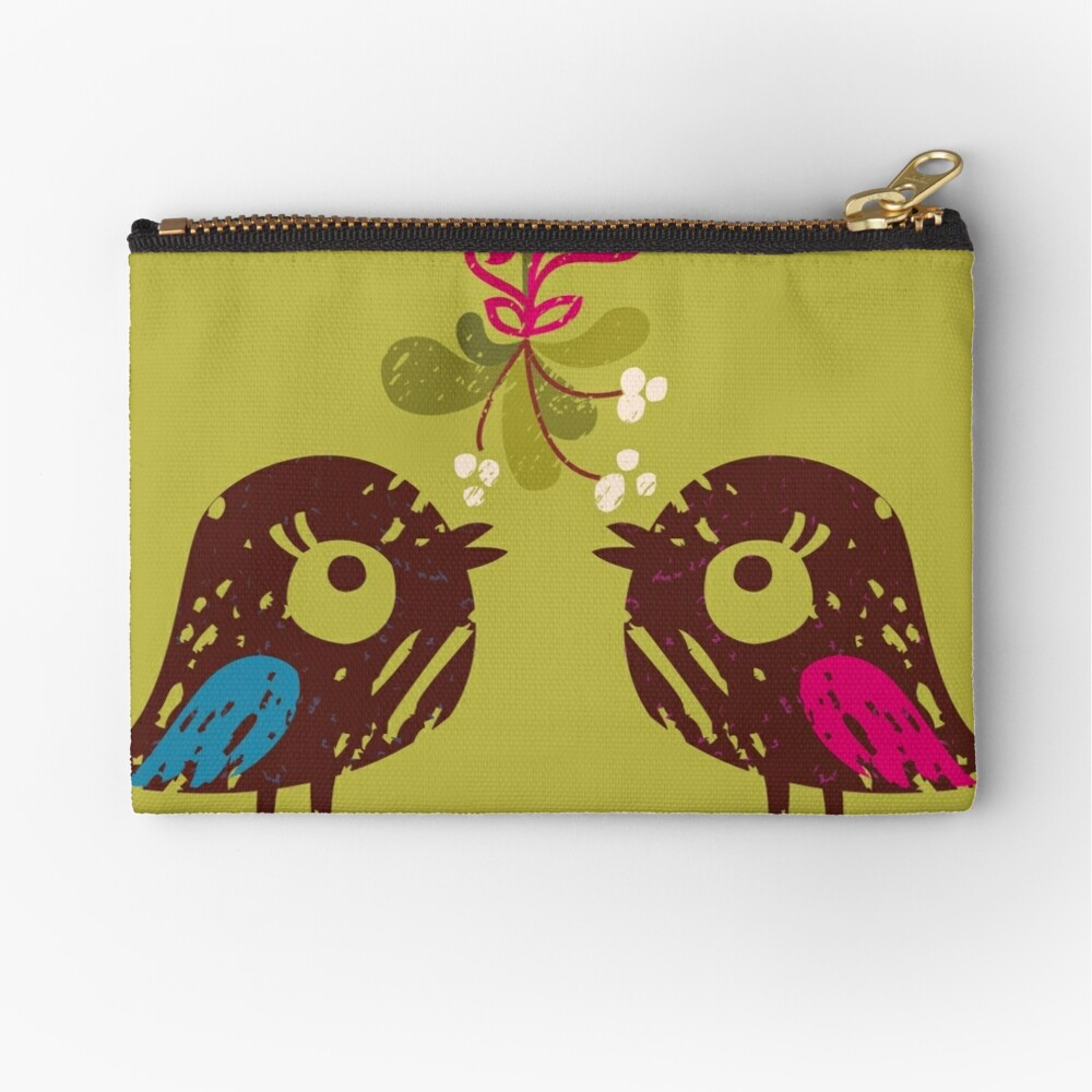 Christmas Love Birds Zipper Pouch