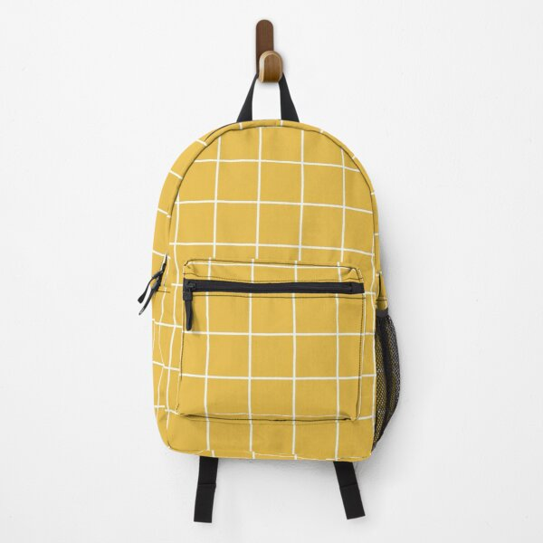 Backpack - Grid Line Yellow and White Minimalist Backpack