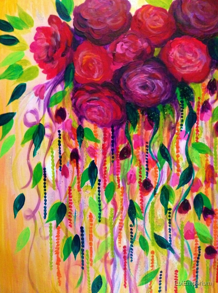 Roses are rad bold fun red roses floral bouquet vines for Floral acrylic paintings