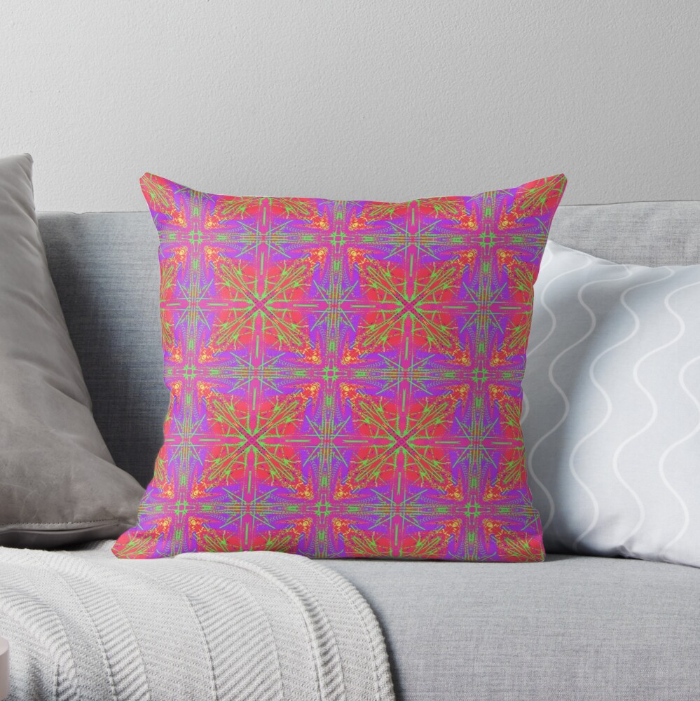 Psychedelic Colorful and Bright Kaleidoscope Throw Pillow