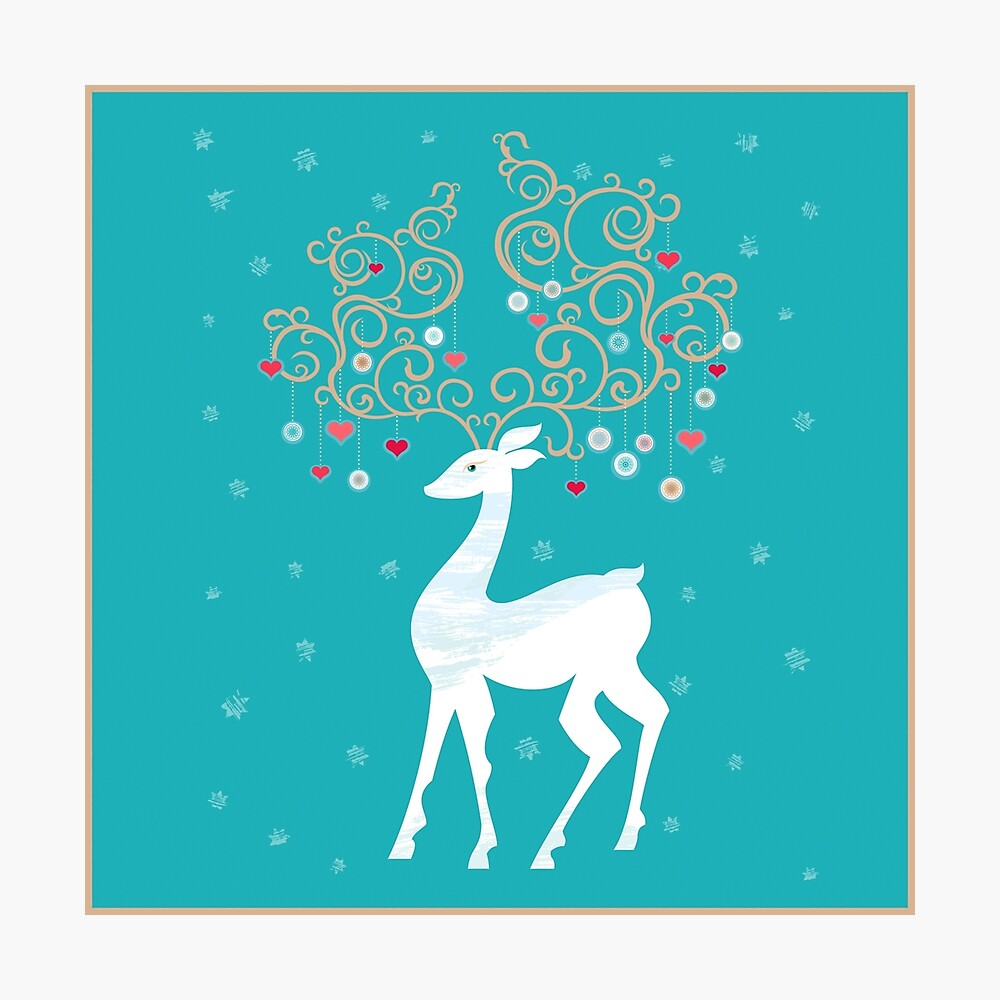 Magic Winter Deer Photographic Print