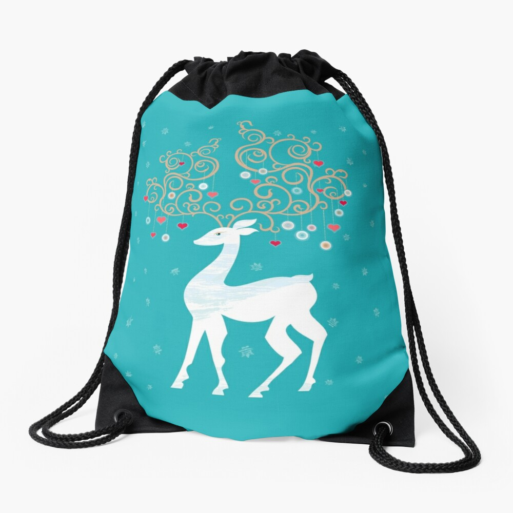 Magic Winter Deer Drawstring Bag