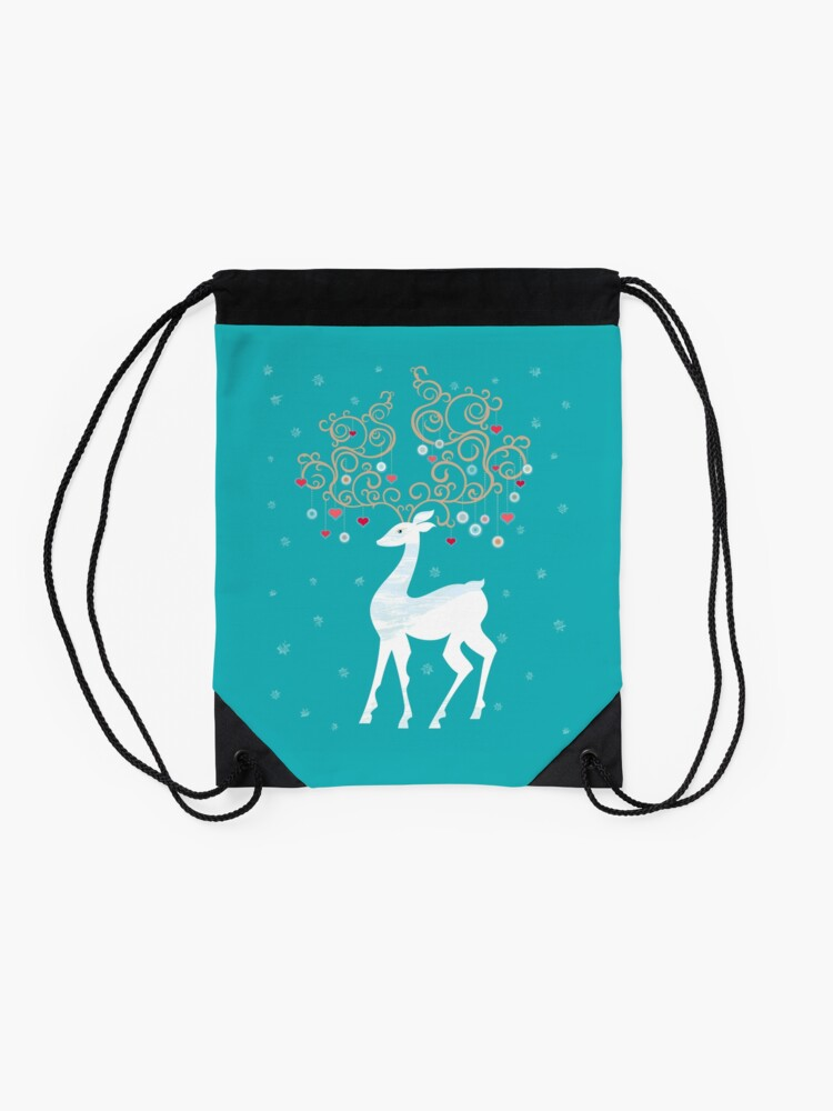 Alternate view of Magic Winter Deer Drawstring Bag