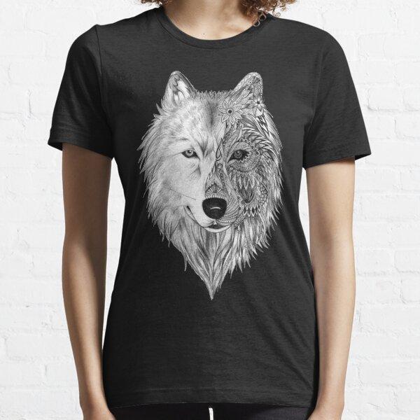 Wolf Face, Half Geometric,  WOLF MOONLIGHT Essential T-Shirt