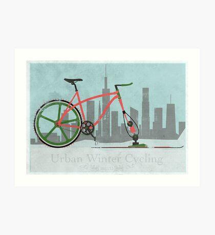 Urban Winter Cycling Art Print
