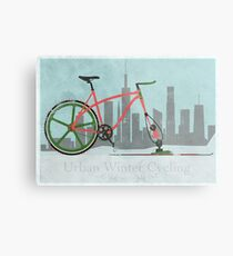Urban Winter Cycling Metal Print