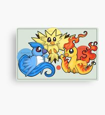 Pokemon Legendary Bird trio Moltres Zapdos Articuno Canvas Print
