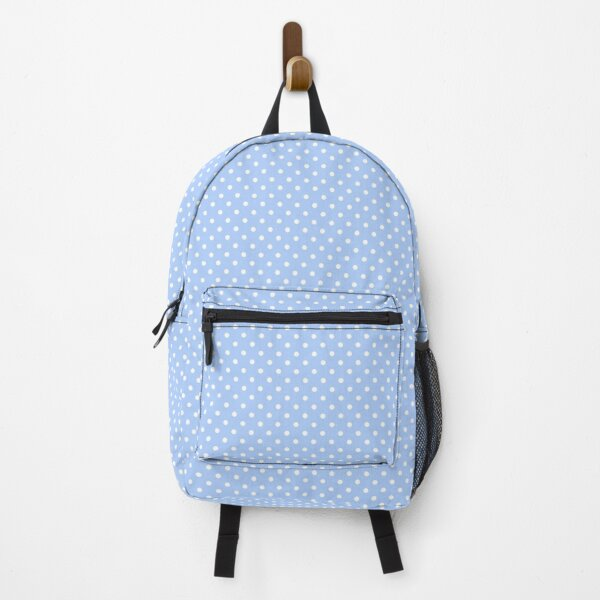 Baby Blue and White Polka Dot Pattern Backpack